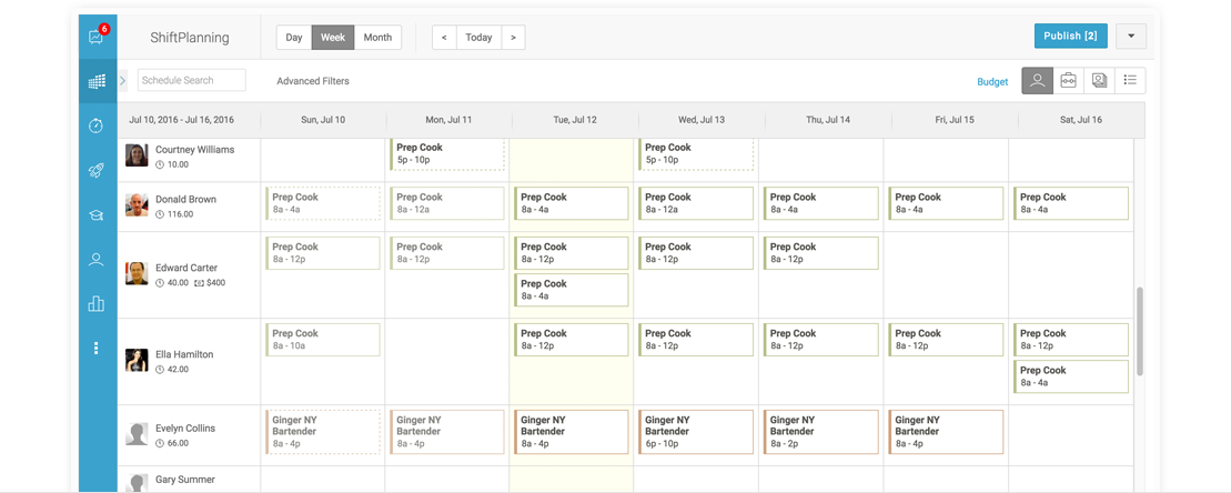 Screenshot of Humanity's ShiftPlanning scheduler for creating shifts for restaurant staff