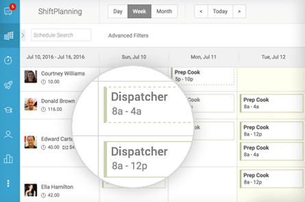 Screenshot of a scheduled shift for a dispatch employee using the Humanity employee scheduling platform